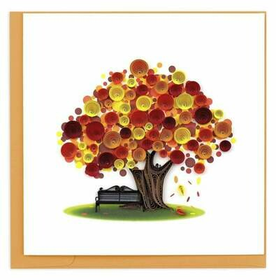 Quilling Card - Autumn Tree - handcrafted - Blank inside