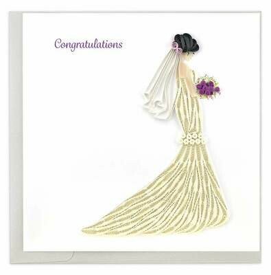Quilling Card - Bridal Congrats - handcrafted - Blank inside