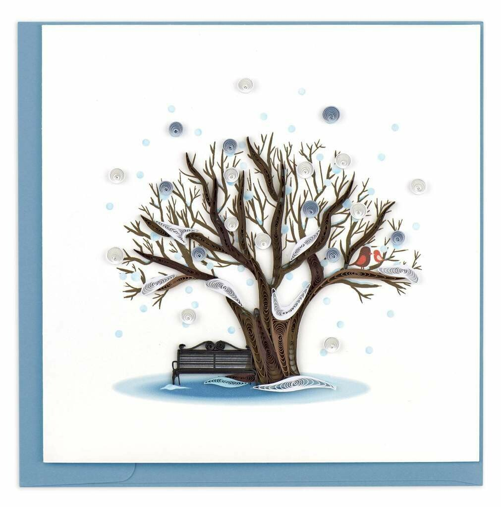 Quilling Card - Winter Tree - handcrafted - Blank inside