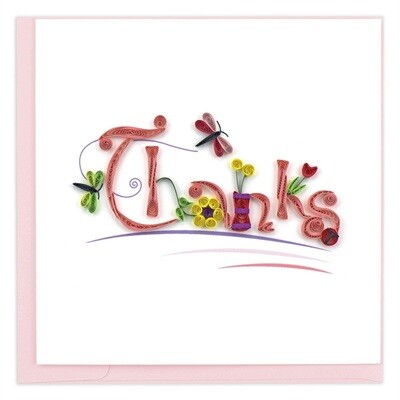 Quilling Card - Thanks - handcrafted - Blank inside