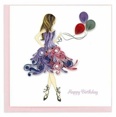 Quilling Card - Birthday Girl - handcrafted - Blank inside