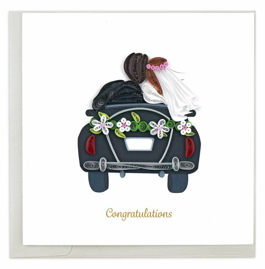Quilling Card - Just Married - handcrafted - Blank inside