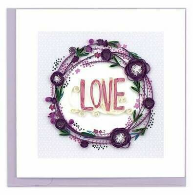 Quilling Card - Love Wreath - handcrafted - Blank inside
