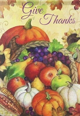 "Bountiful Cornucopia - ""Give Thanks"" -  Thanksgiving Flag - Fall 28"" x 40"""