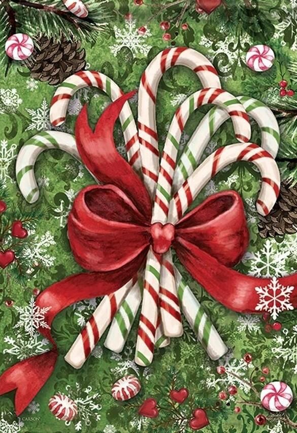"""Christmas Candy - glitter double sided flag - Garden Flag - 12.5 """" x 18"""""""