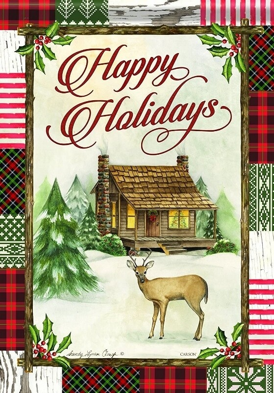 "Christmas Cabin - Happy Holidays - Garden Flag - 12.5 "" x 18"""