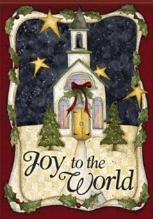 "Church of Joy - ""Joy to the World"" - Garden Flag - 12.5 "" x 18"""