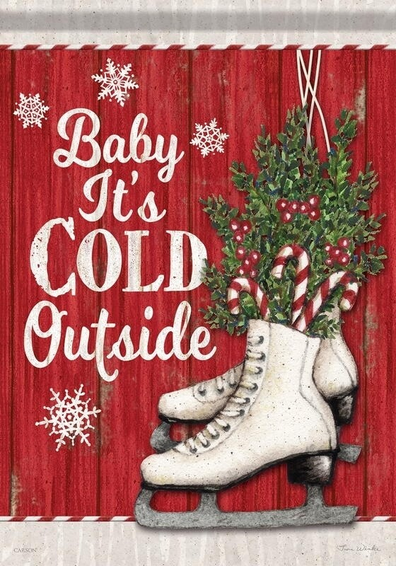 """Candy Cane Skates - """"Baby It's Cold Outside"""" - Garden Flag - 12.5 """" x 18"""""""