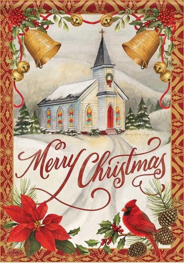 "Christmas Bells - ""Merry Christmas"" - Church - Garden Flag - 12.5 "" x 18"""