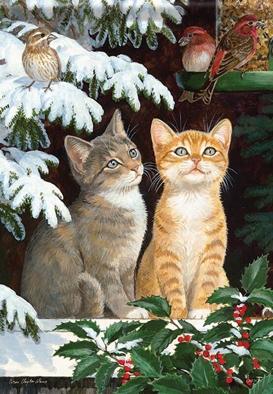 "Window Watchers - Two kittens watching birds in snow - Garden Flag - 12.5 "" x 18"""