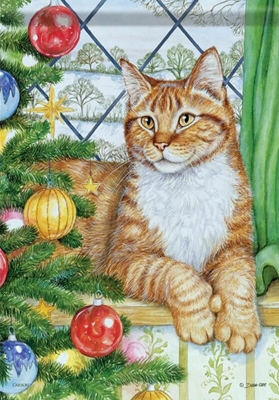 """Christmas Cat - by Tree and Window - Garden Flag - 12.5 """" x 18"""""""