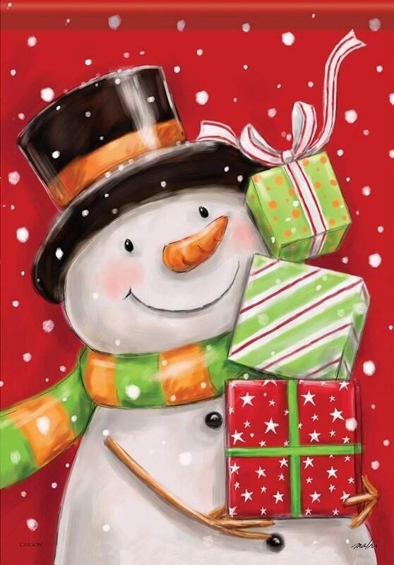 "Pile of Presents - Snowman - Garden Flag - 12.5 "" x 18"""