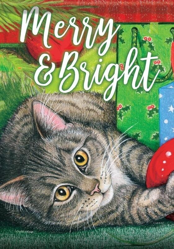"Santa's Helper - ""Merry and Bright"" - Cat - Garden Flag - 12.5 "" x 18"""