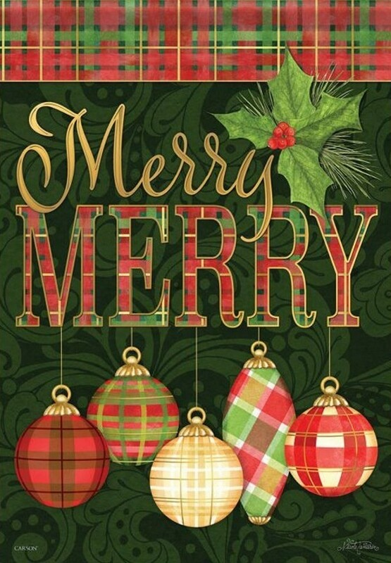 "Merry Merry Ornaments - ""Merry MERRY"" - Garden Flag - 12.5 "" x 18"""