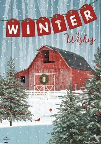 "Winter Barn - ""Winter Wishes"" - Garden Flag - Christmas/Winter - 12.5 "" x 18"""