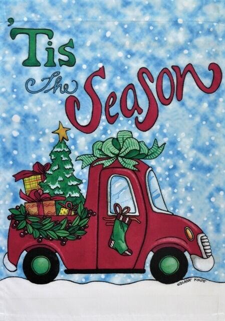 """'Tis The Season"" Pickup - Truck - Garden Flag - Christmas - 12.5 "" x 18"""