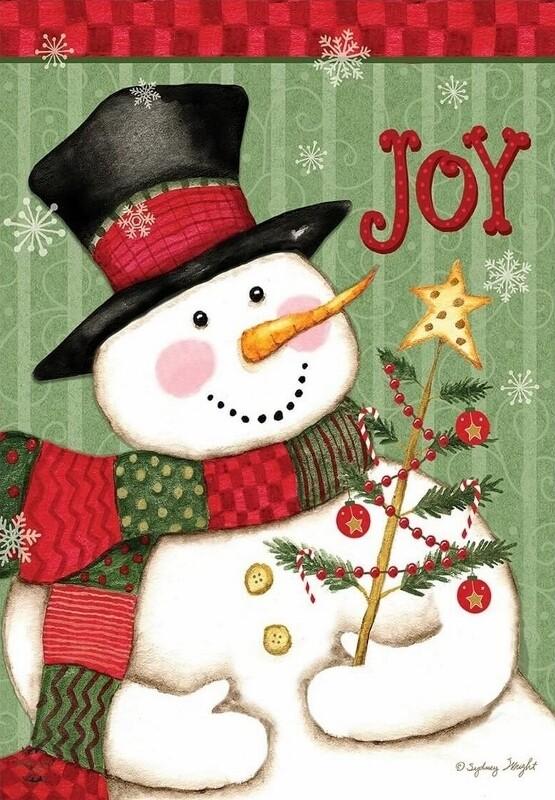 "Snowman ""Joy"" - Garden Flag - Christmas - 12.5 "" x 18"""