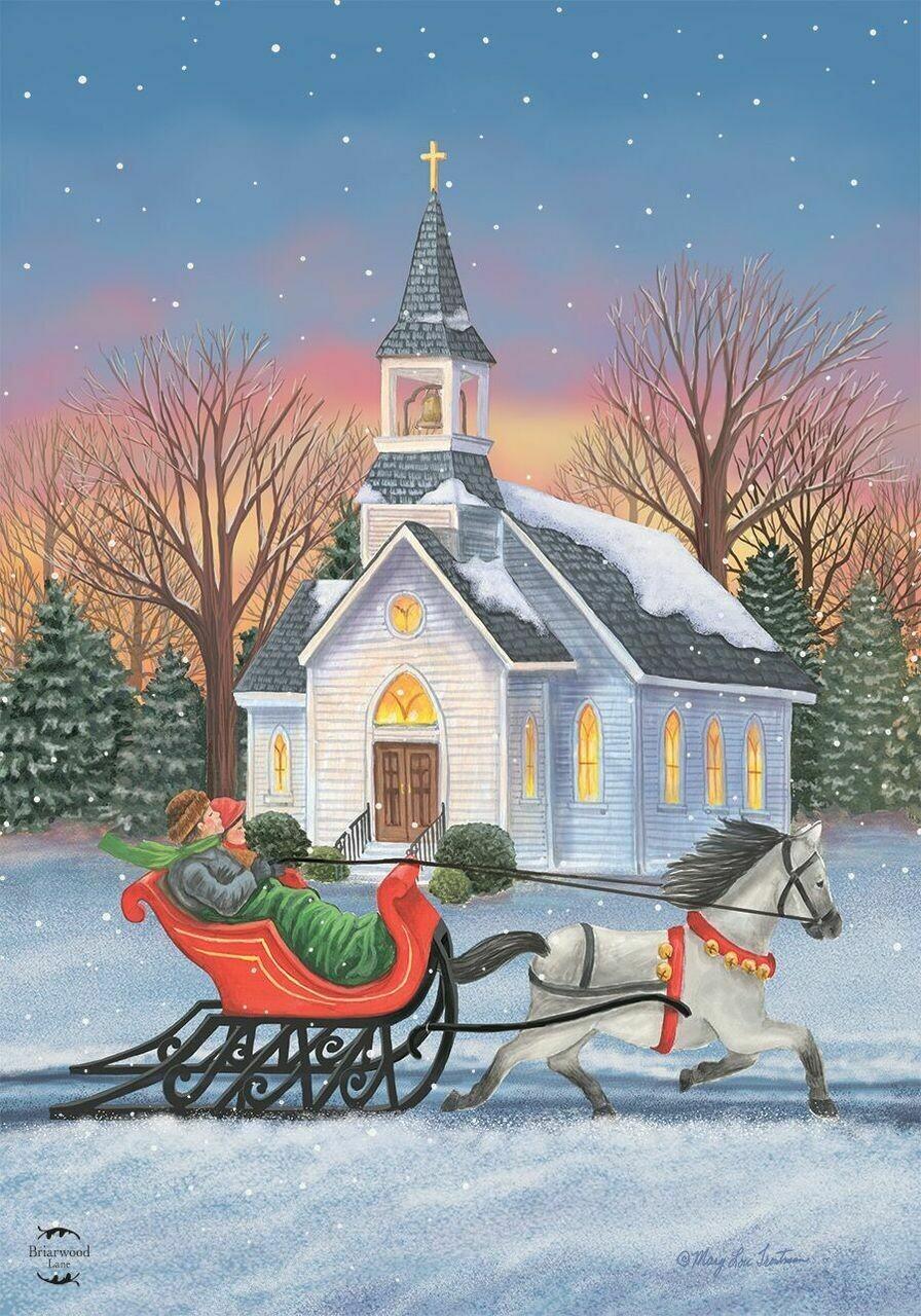 """One Horse Open Sleigh - with Church - Garden Flag - Christmas/Winter - 12.5 """" x 18"""""""