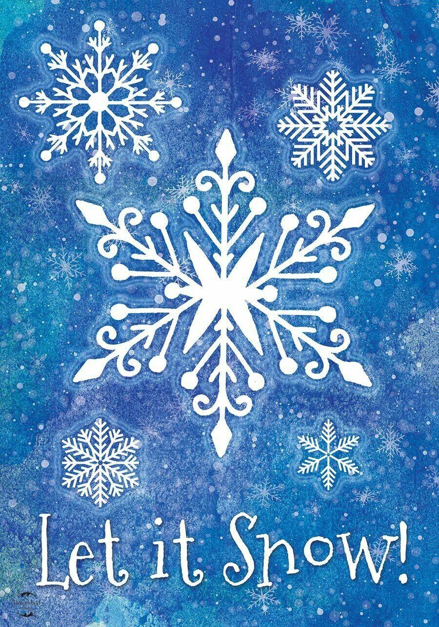 "Snowflakes - ""Let It Snow"" - on Blue - Garden Flag - Winter - 12.5 "" x 18"""