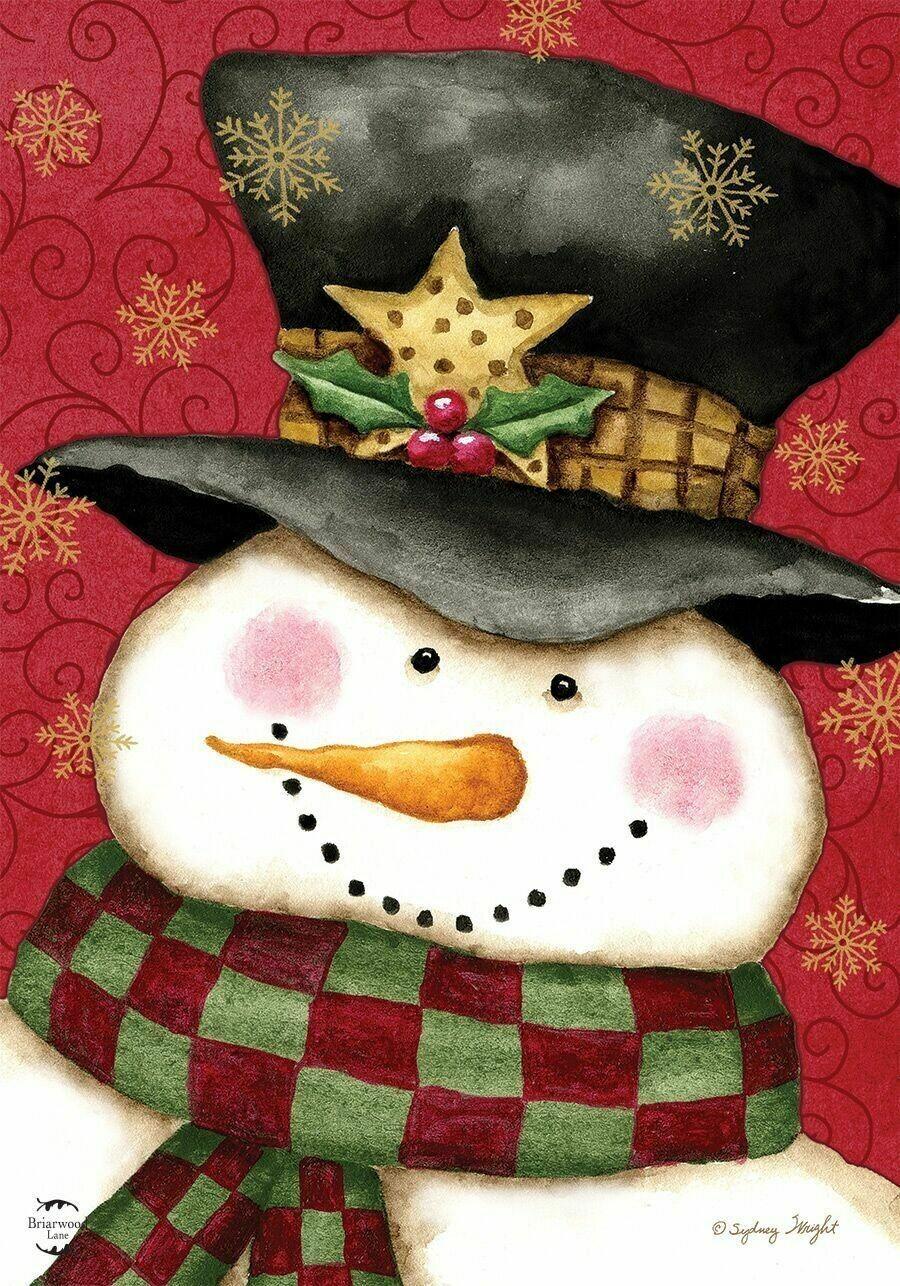 """Holly Jolly Snowman - Garden Flag - Christmas - 12.5"""" x 18"""""""