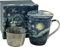 Van Gogh - Starry Night - Single Fine Bone China Tea Mug/Cup in Collector Box - with Lid and Strainer