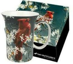 Bateman - Cardinal - Canadian Artist - White Honeysuckle Flowers - Single Fine Bone China Crest Mug in Collector Box