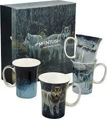 Bateman - Wolves - Canadian Artist - Set of Four Fine Bone China Mugs in Collector Box