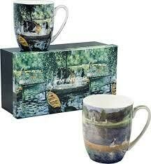 Renoir - Boating - Set of Two Fine Bone China Mugs in Collector Box