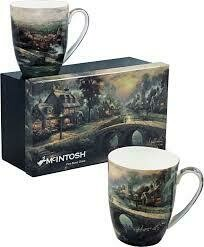 Kinkade - Village - Set of Two Fine Bone China Mugs in Collector Box