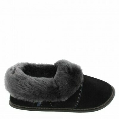 Mens Low-cut - 10.5/11.5  Black with Silverfox Fur