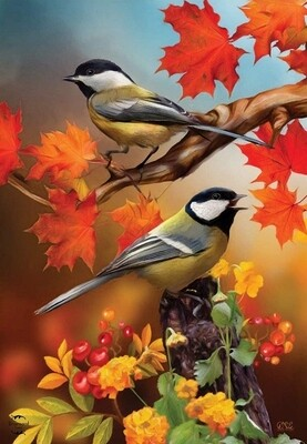 "Autumn Chickadees - Garden Flag - 12.5 "" x 18"""