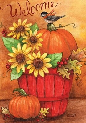 "Autumn Bushel - Garden Flag - 12.5 "" x 18"""