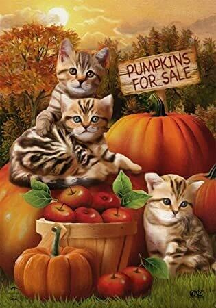 "Fall Kittens - Garden Flag - 12.5 "" x 18"""