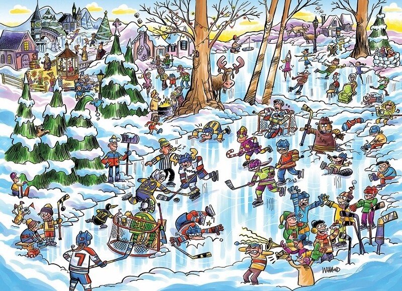 Hockey Town, Doodletown - 1000 piece - Cobble Hill Puzzle