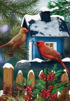"Snowy Day Cardinals - House Flag - 28"" x 40"""