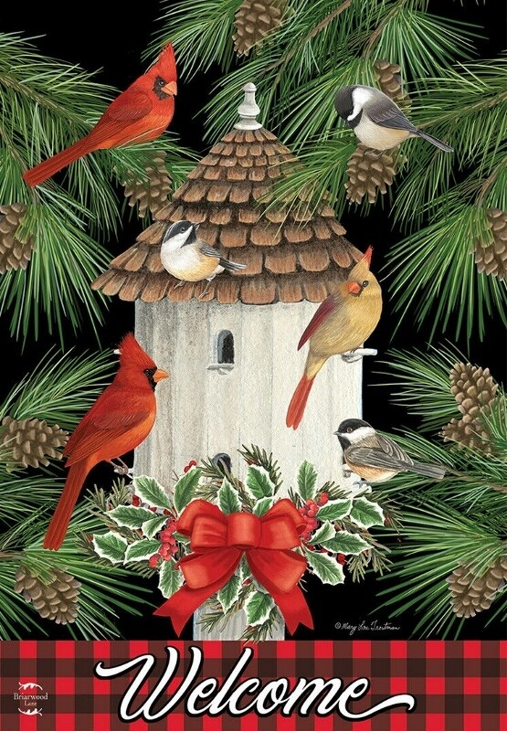 "Holiday Bird Gathering - Garden Flag - 12.5 "" x 18"""