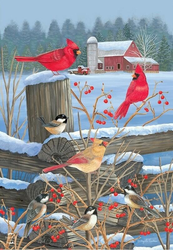 """Birds of Winter - Garden Flag - 12.5 """" x 18"""""""