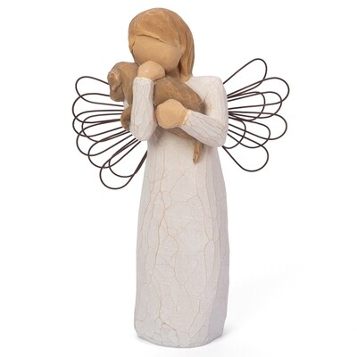 Angel of Friendship - Standing Holding Puppy Dog - Wire Wings