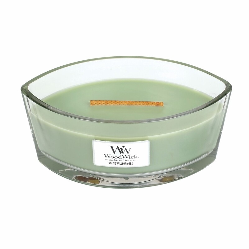 White Willow Moss - 16 oz Ellipse Glass Dish - Woodwick Candle