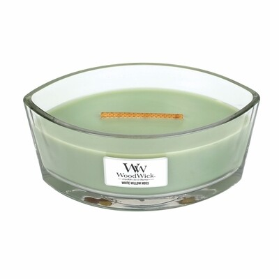 White Willow Moss - 16 oz Ellipse Glass Dish - Woodwick Candle