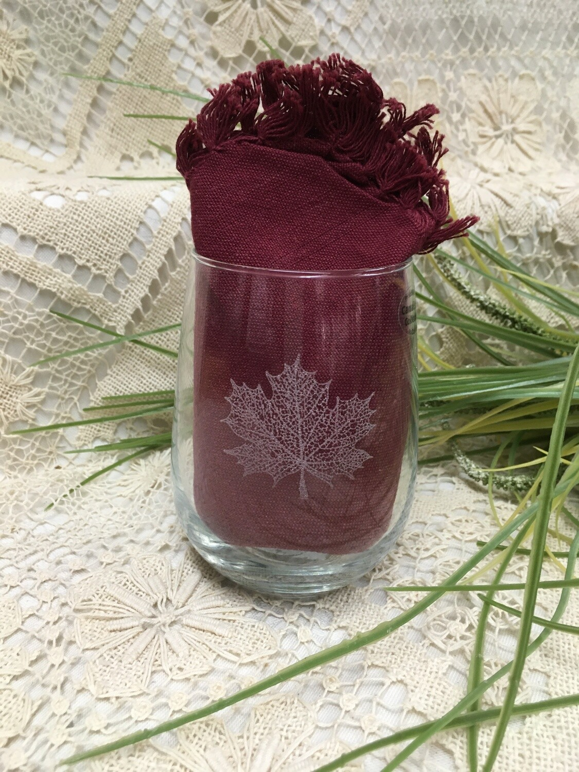 Wine Cup - Maple Leaf - Stemless - Etched Glass - Canadiana Collection