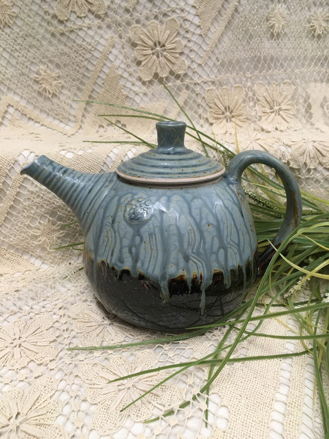 Fancy Tea Pot, Blue Ash - Parsons Dietrich Pottery - Canadian Handmade