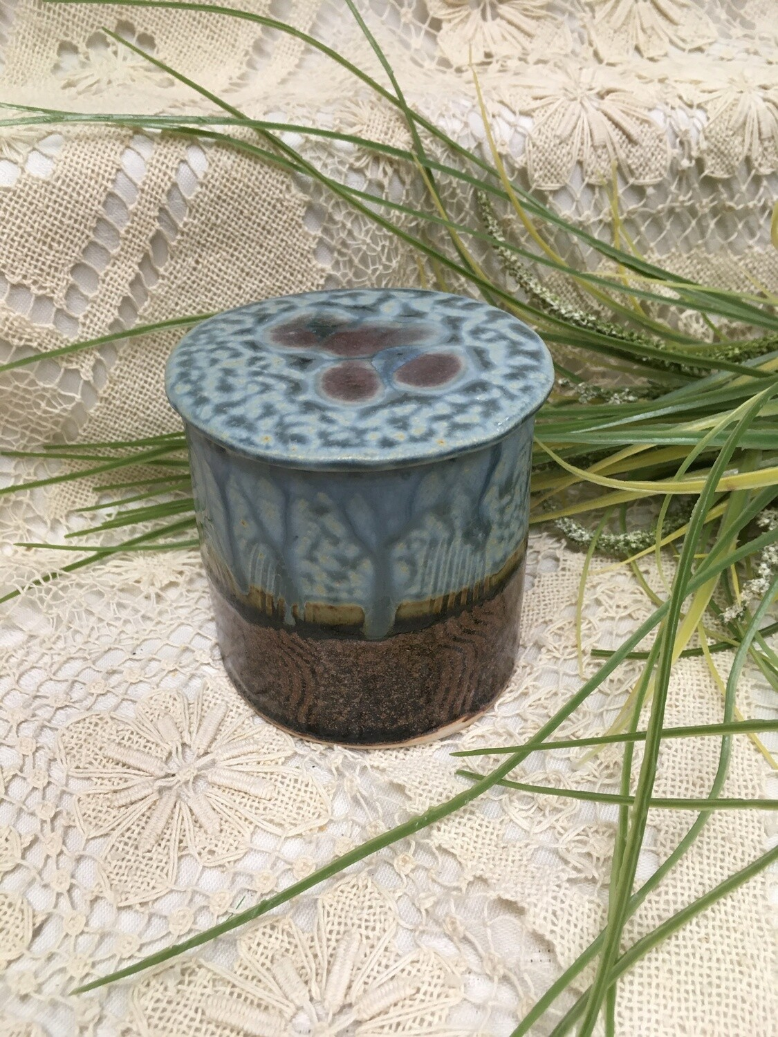 French Butter Dish, Blue Ash - Parsons Dietrich Pottery - Handmade Canadian