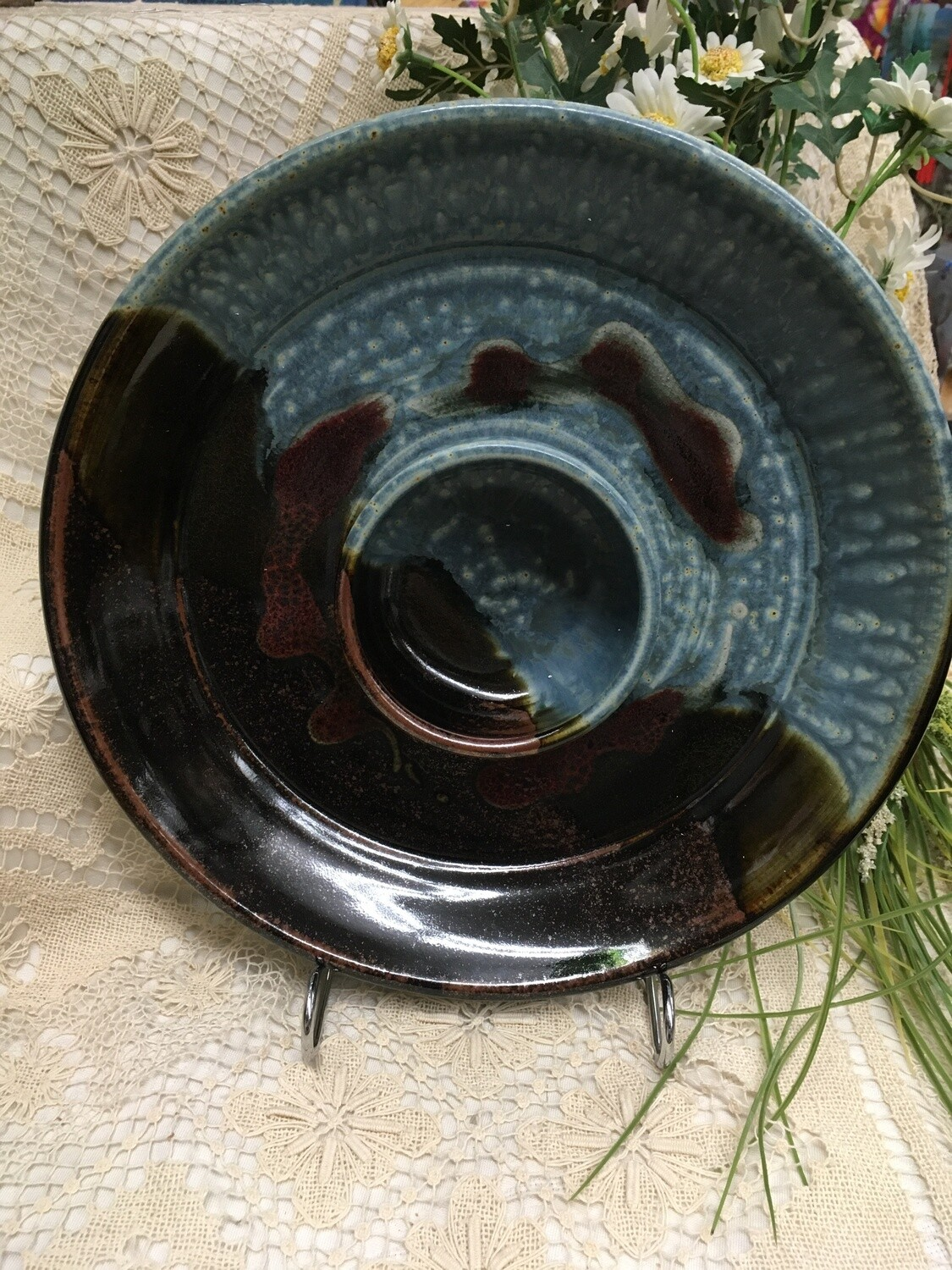 Large Chip and Dip, Blue Ash - Parsons Dietrich Pottery - Canadian Handmade