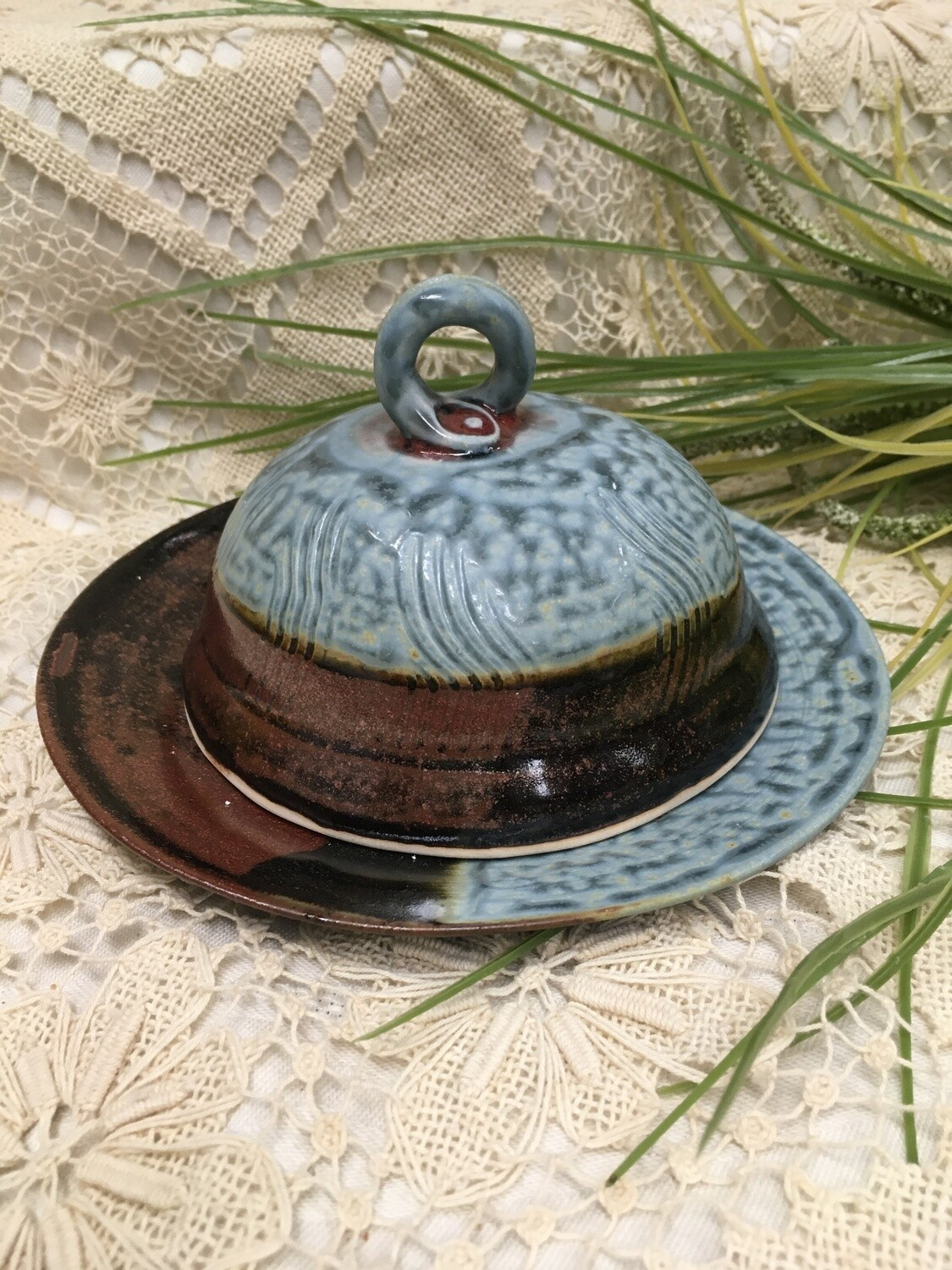 Bell Butter Dish, Blue Ash - Parsons Dietrich Pottery - Canadian Handmade