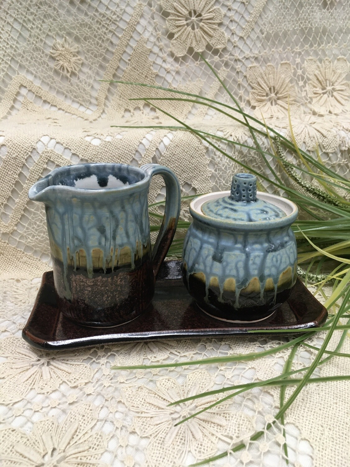 Cream & Sugar Set with Tray, Blue Ash - Parsons Dietrich Pottery - Canadian Handmade