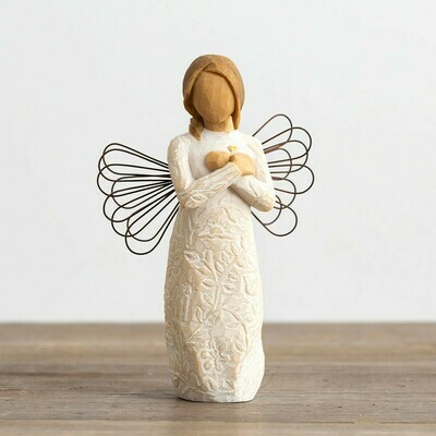 Remembrance - Angel holding Heart with Wire Wings