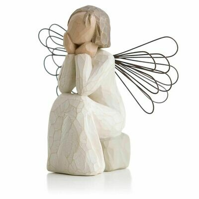 Angel of Caring - Sitting with Chin on Hands - Wire Wings