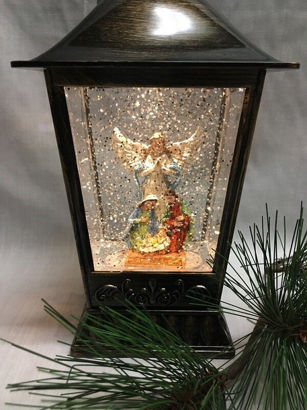 Water Lantern with Angel and Holy Family - Bronze LED - Lights up and Blows glittering Snow
