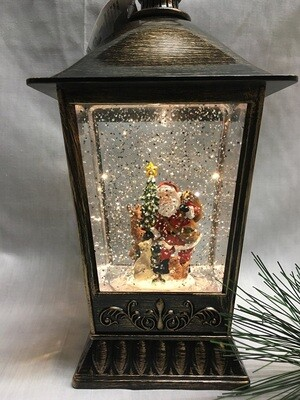 Water Lantern with Santa and Reindeer - Bronze LED - Lights up and Blows glittering Snow